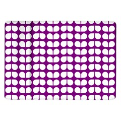 Purple And White Leaf Pattern Samsung Galaxy Tab 10 1  P7500 Flip Case