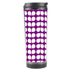 Purple And White Leaf Pattern Travel Tumbler