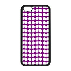 Purple And White Leaf Pattern Apple iPhone 5C Seamless Case (Black)