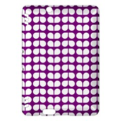 Purple And White Leaf Pattern Kindle Fire HDX Hardshell Case