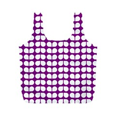 Purple And White Leaf Pattern Reusable Bag (M)