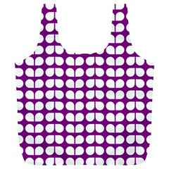 Purple And White Leaf Pattern Reusable Bag (xl)