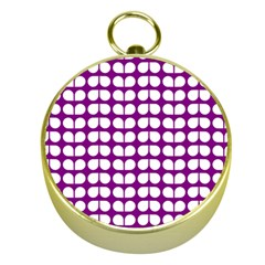 Purple And White Leaf Pattern Gold Compass