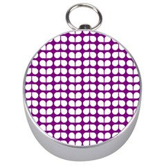 Purple And White Leaf Pattern Silver Compass