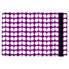 Purple And White Leaf Pattern Apple iPad Air Flip Case