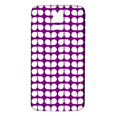 Purple And White Leaf Pattern Samsung Galaxy S5 Back Case (White)