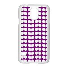 Purple And White Leaf Pattern Samsung Galaxy S5 Case (White)