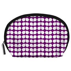 Purple And White Leaf Pattern Accessory Pouch (Large)