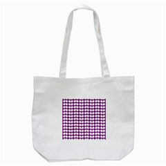 Purple And White Leaf Pattern Tote Bag (white)