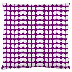 Purple And White Leaf Pattern Large Flano Cushion Case (Two Sides)