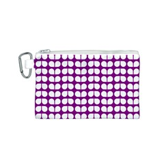 Purple And White Leaf Pattern Canvas Cosmetic Bag (Small)