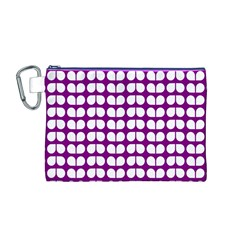 Purple And White Leaf Pattern Canvas Cosmetic Bag (Medium)