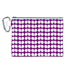 Purple And White Leaf Pattern Canvas Cosmetic Bag (Large)