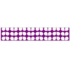 Purple And White Leaf Pattern Flano Scarf (Large)