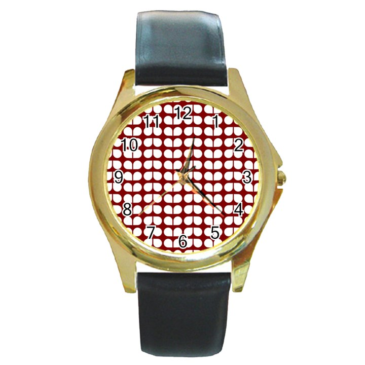 Red And White Leaf Pattern Round Leather Watch (Gold Rim)