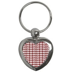 Red And White Leaf Pattern Key Chain (heart)