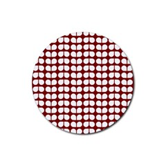 Red And White Leaf Pattern Drink Coaster (round)