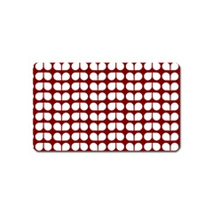 Red And White Leaf Pattern Magnet (name Card)