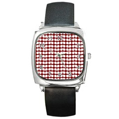 Red And White Leaf Pattern Square Leather Watch