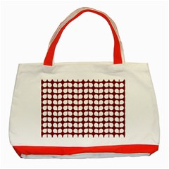 Red And White Leaf Pattern Classic Tote Bag (Red)