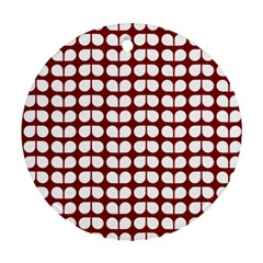 Red And White Leaf Pattern Round Ornament (two Sides)