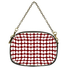 Red And White Leaf Pattern Chain Purse (two Sided)
