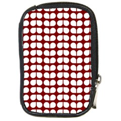 Red And White Leaf Pattern Compact Camera Leather Case