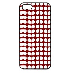 Red And White Leaf Pattern Apple Iphone 5 Seamless Case (black)