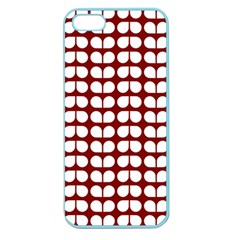 Red And White Leaf Pattern Apple Seamless Iphone 5 Case (color)