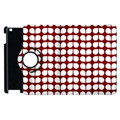 Red And White Leaf Pattern Apple Ipad 2 Flip 360 Case