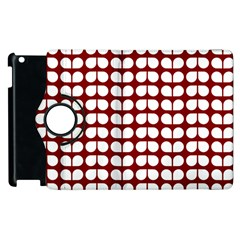 Red And White Leaf Pattern Apple iPad 3/4 Flip 360 Case