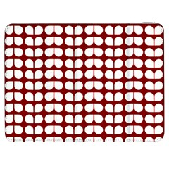 Red And White Leaf Pattern Samsung Galaxy Tab 7  P1000 Flip Case