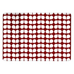 Red And White Leaf Pattern Samsung Galaxy Tab 10.1  P7500 Flip Case