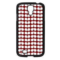 Red And White Leaf Pattern Samsung Galaxy S4 I9500/ I9505 Case (black)