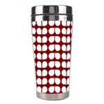 Red And White Leaf Pattern Stainless Steel Travel Tumbler Left
