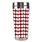 Red And White Leaf Pattern Stainless Steel Travel Tumbler Center