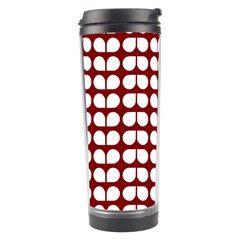 Red And White Leaf Pattern Travel Tumbler