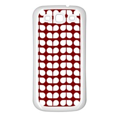 Red And White Leaf Pattern Samsung Galaxy S3 Back Case (white)