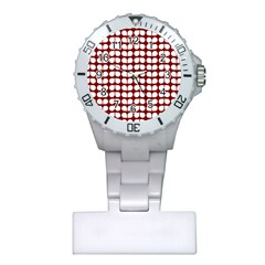 Red And White Leaf Pattern Nurses Watch