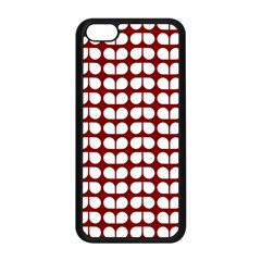 Red And White Leaf Pattern Apple iPhone 5C Seamless Case (Black)