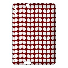 Red And White Leaf Pattern Kindle Fire Hdx Hardshell Case