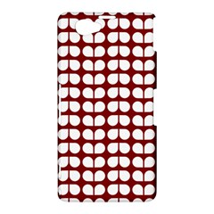 Red And White Leaf Pattern Sony Xperia Z1 Compact Hardshell Case