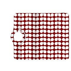 Red And White Leaf Pattern Kindle Fire HDX 8.9  Flip 360 Case
