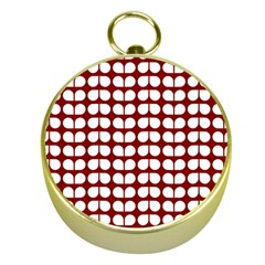 Red And White Leaf Pattern Gold Compass