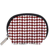 Red And White Leaf Pattern Accessory Pouch (Small)