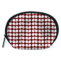 Red And White Leaf Pattern Accessory Pouch (Medium)