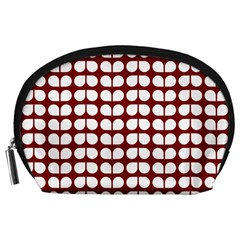 Red And White Leaf Pattern Accessory Pouch (Large)