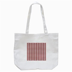 Red And White Leaf Pattern Tote Bag (White)