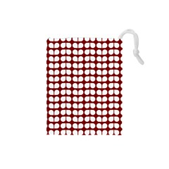 Red And White Leaf Pattern Drawstring Pouch (small)