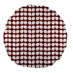 Red And White Leaf Pattern 18  Premium Flano Round Cushion